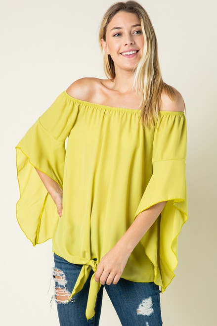 PLUS SIZE BELL SLEEVE WOVEN TUNIC TOP