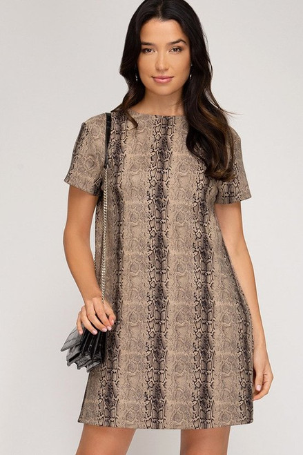 Printed Suede Dress