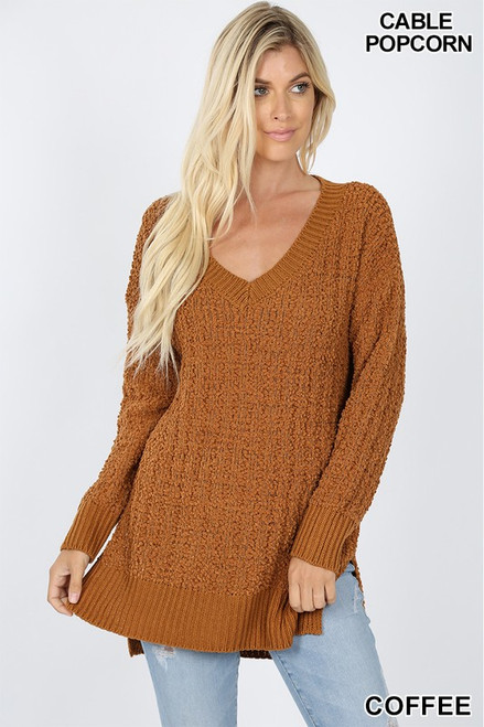 V-NECK CABLE POPCORN SWEATER