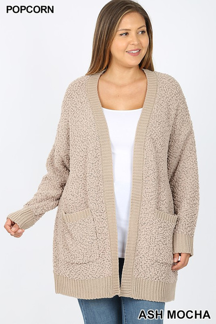 PLUS LONG SLEEVE POPCORN CARDIGAN WITH POCKETS