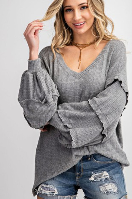 TIERED RUFFLE BUBBLE SLEEVE OVER SIZED WIDE V NECK