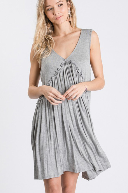 SOLID DRESS WITH RUFFLED DETAIL
