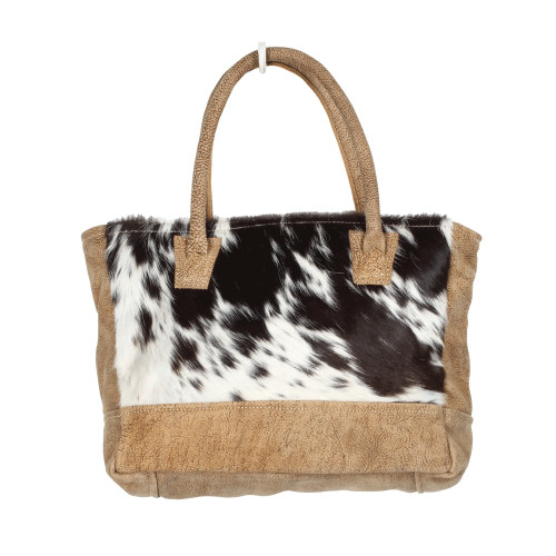 BLACK AND WHITE HAIRON & LEATHER SMALL BAG