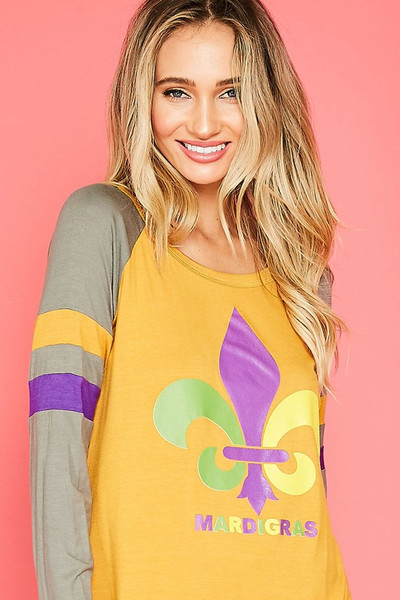 Mardi Gras Graphic Print Baseball Top