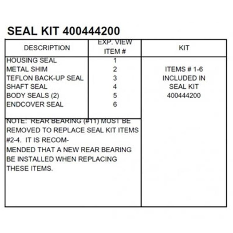 White 400 Series HD Seal Kit 400444250