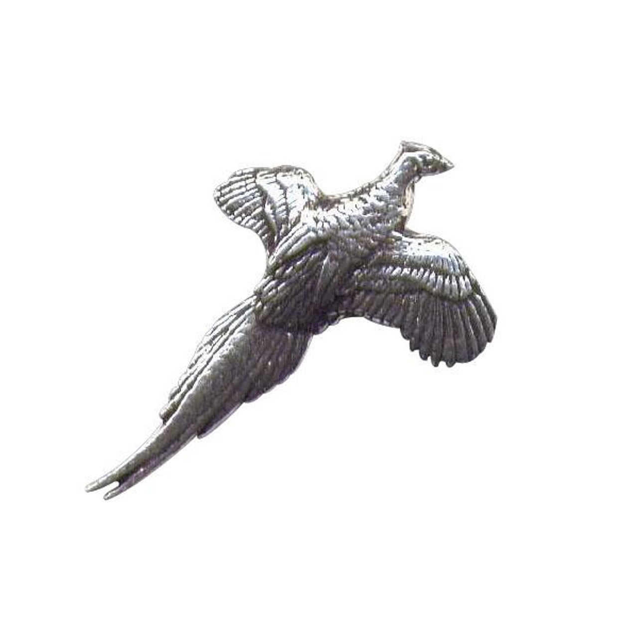 Shooting Key Ring featuring a Flying Pheasant in Pewter