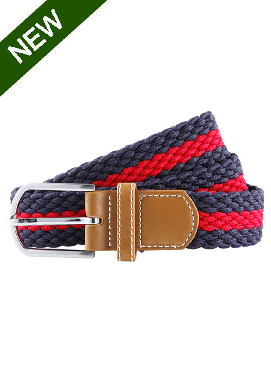 f28e0cc02b Striped Elasticated Woven Belt In Navy and Red