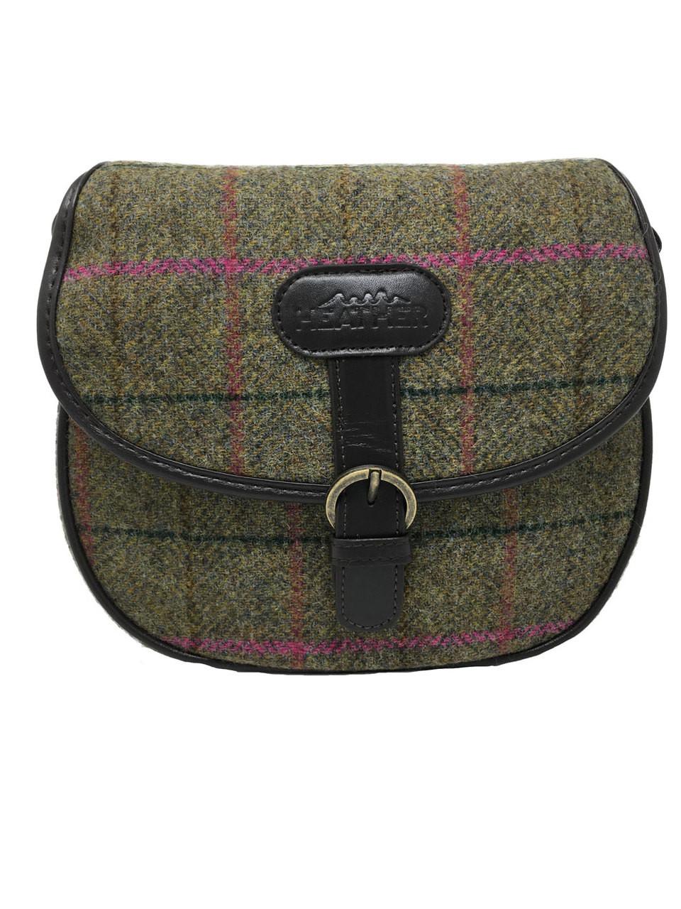 Leather Saddle Bag with Brown Herringbone Harris Tweed