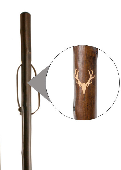 Classic Canes Chestnut Staff with Stag Engraved Motif