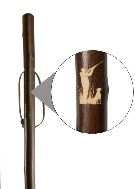 Classic Canes Chestnut Staff with Shooter & Dog Engraved Motif