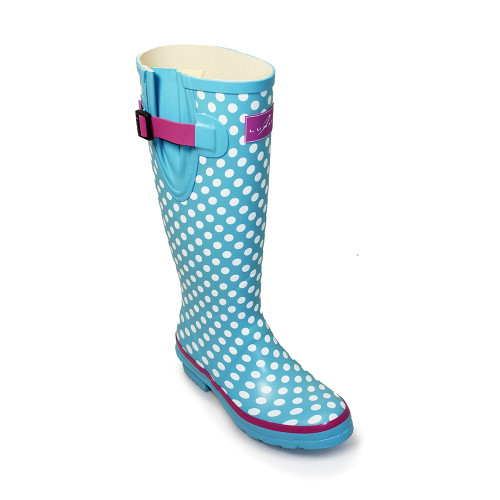 All rubber wellington boots with adjustable side