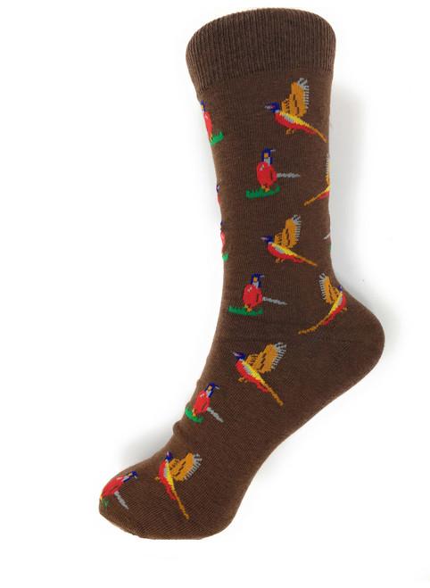 Novelty Socks Brown Pheasant