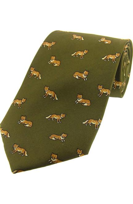 Fox design silk tie