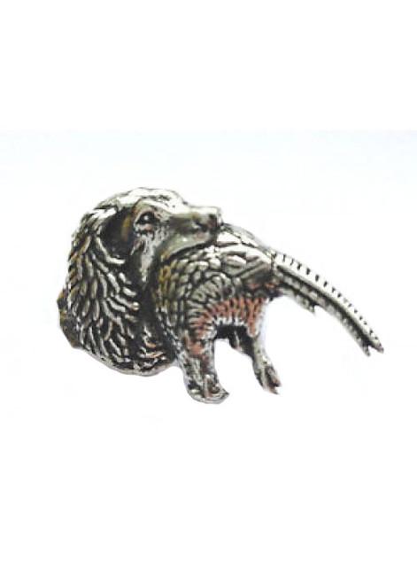 Spaniel with Pheasant Pewter Pin