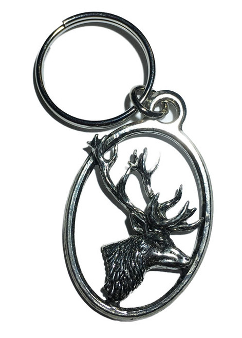 Stag's Head Pewter Keyring
