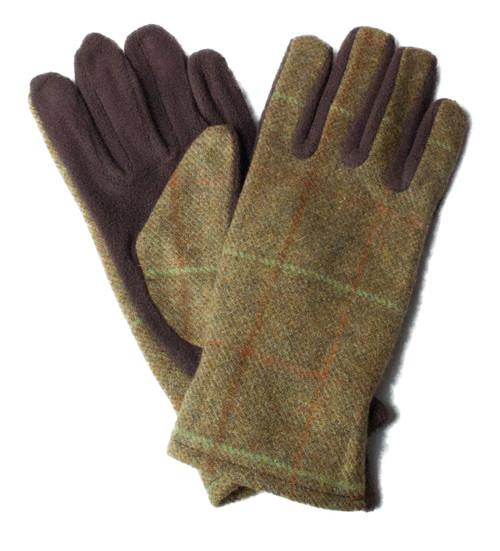 Olive Womens Tweed Gloves
