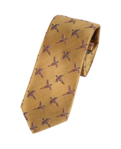 Bonart Pheasant Design Silk Tie - Gold
