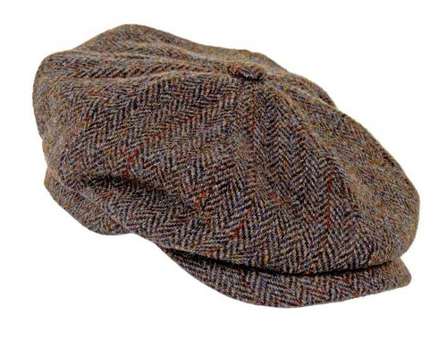 Scott Harris Tweed Newsboy Cap - Green/Brown Herringbone