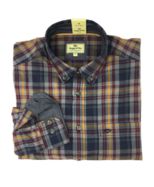 Hoggs of Fife Galloway Check Shirt Navy/Wine