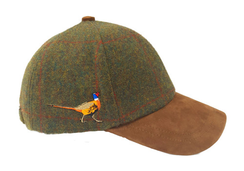 Tweed Baseball Cap with Pheasant Embroidered