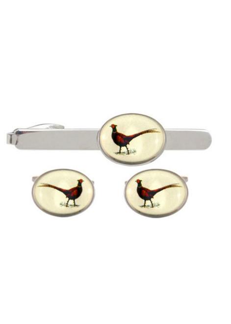 Pheasant Cufflinks & Tie Bar Set