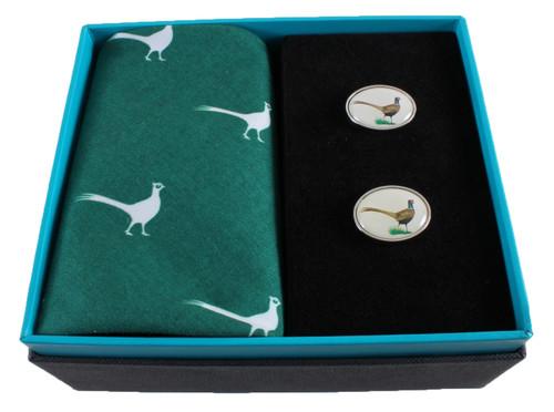 Pheasant Handkerchief and Cufflinks Gift Set