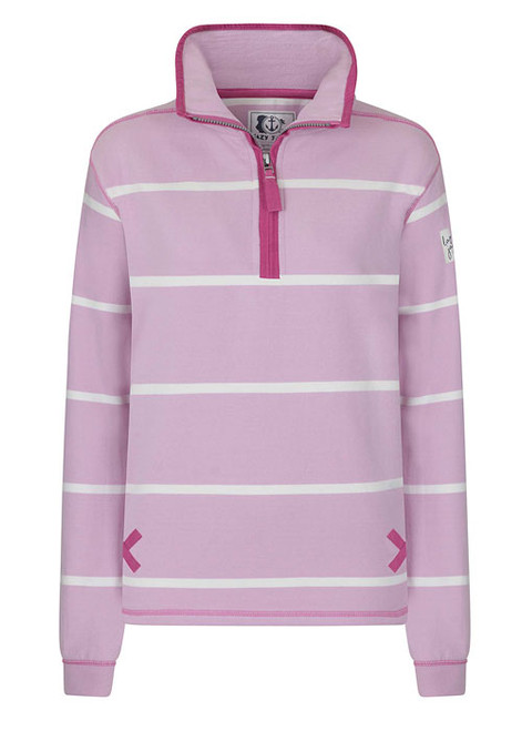 Lazy Jacks Ladies Striped 1/4 zip sweatshirt