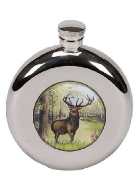 Round Hip Flask with Stag