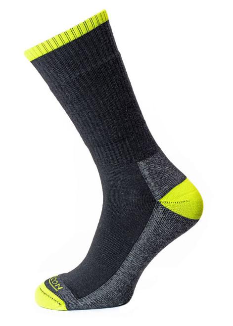 Horizon Merino Hike Sock - Anthracite Marl/Lime