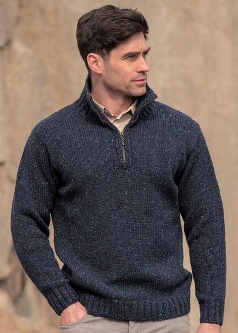 Aran Craft Donegal Wool Mens Half Zip Jumper