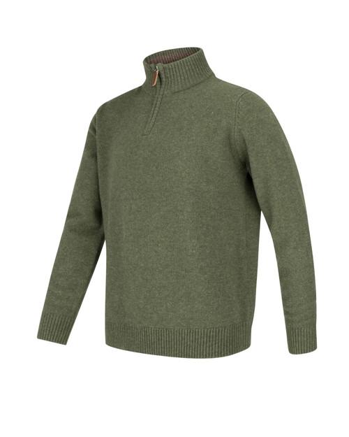 Men's zip jumper lambswool - Thyme