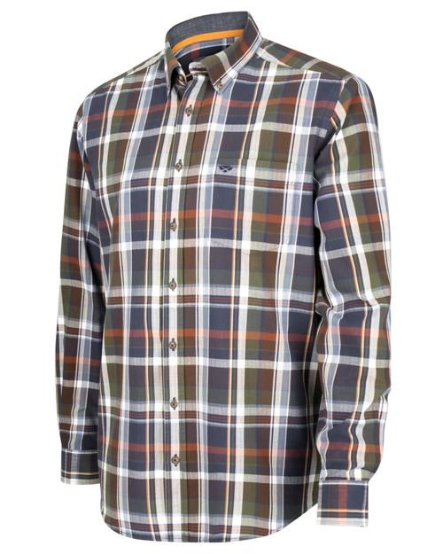 Herringbone weave checked shirt