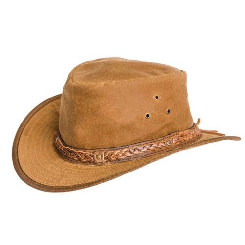 Oil Skin wax hat with leather trim
