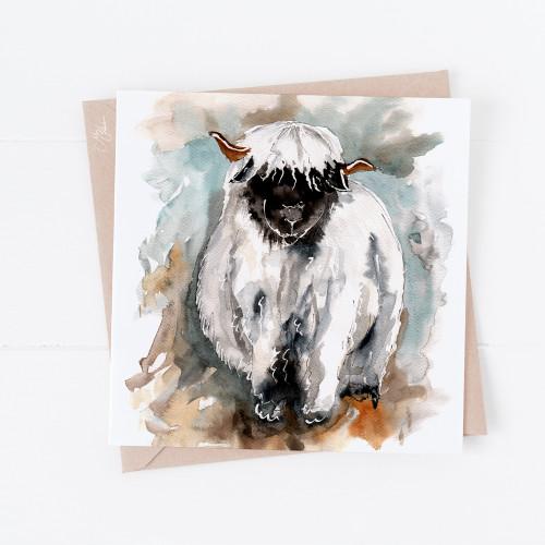 Valais Sheep Greetings Card