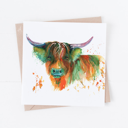 Highland Cow Head Greeting Cards