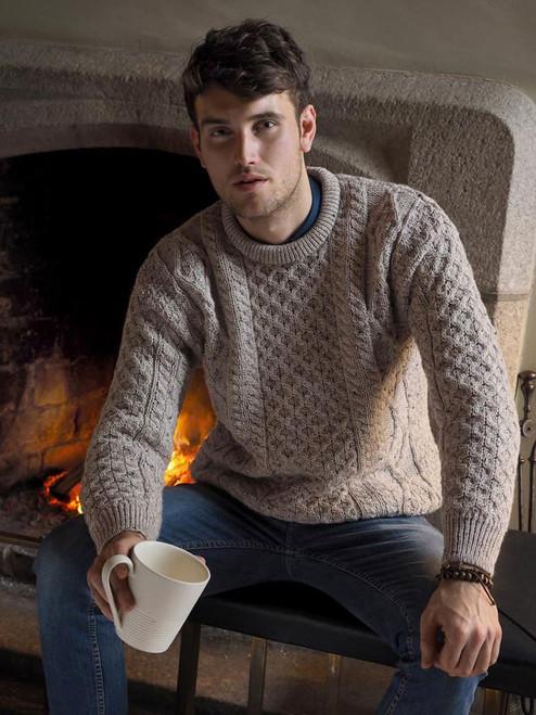 Irish Aran Crew Neck Sweater