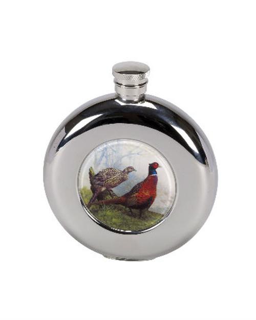 Pheasant design hip flask