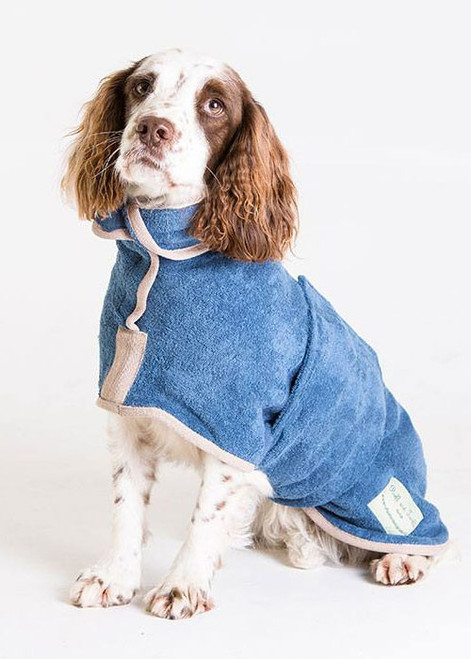 Towelling dog drying coat