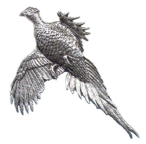 Large Flying Pheasant Pewter Pin