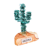 """Stacked Glass Cactus 4"""" w/Sandstone"""