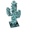 """Stacked Glass Cactus 7"""" w/Glass Base"""