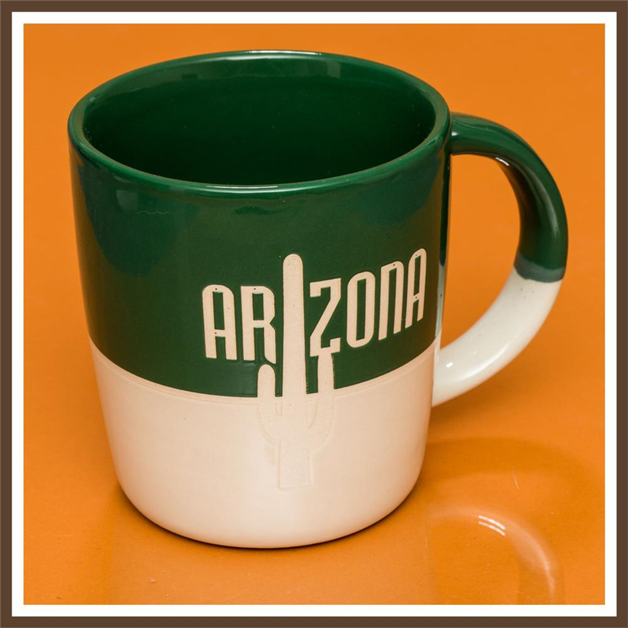 Green White Stoneware Mug