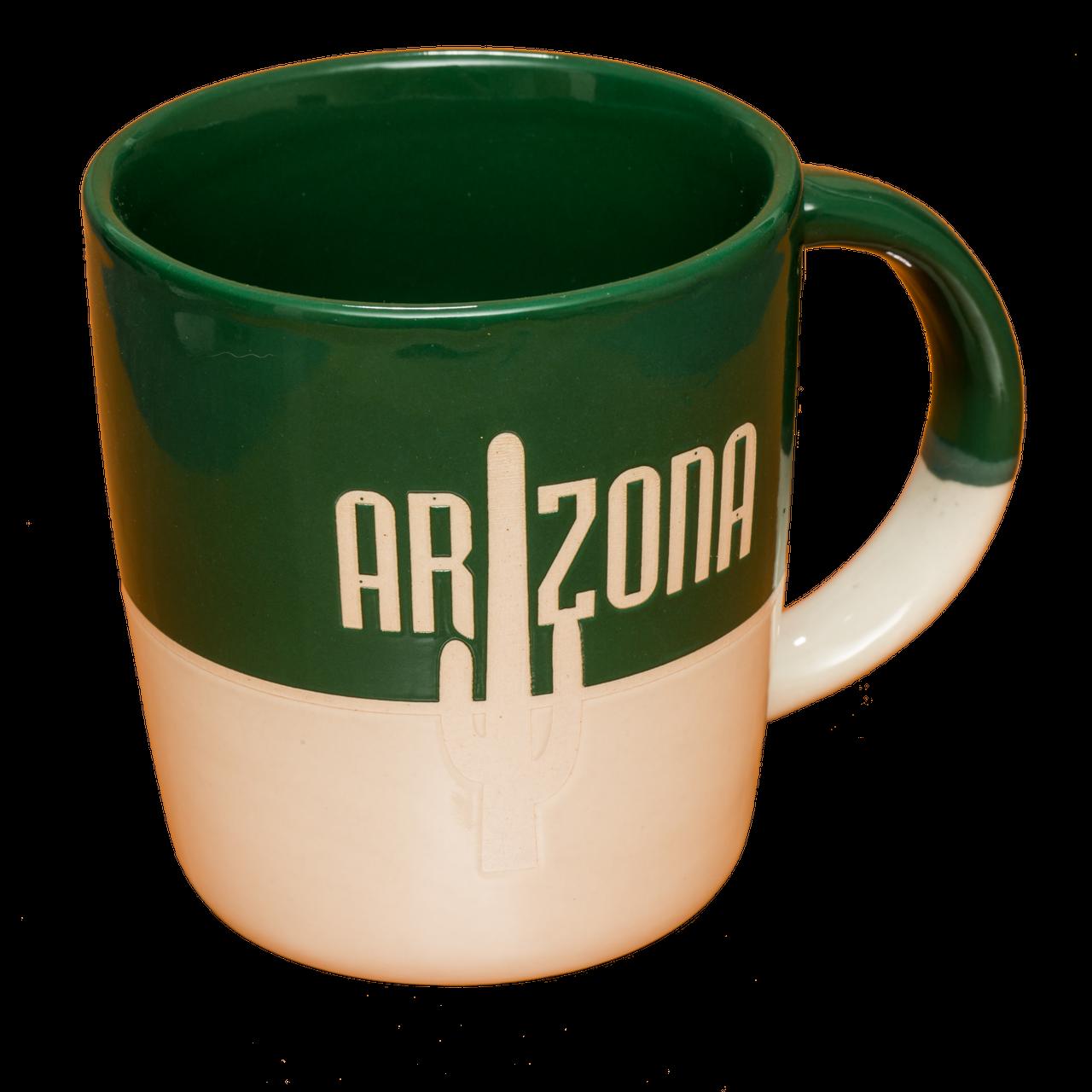 Green White Stoneware Mug