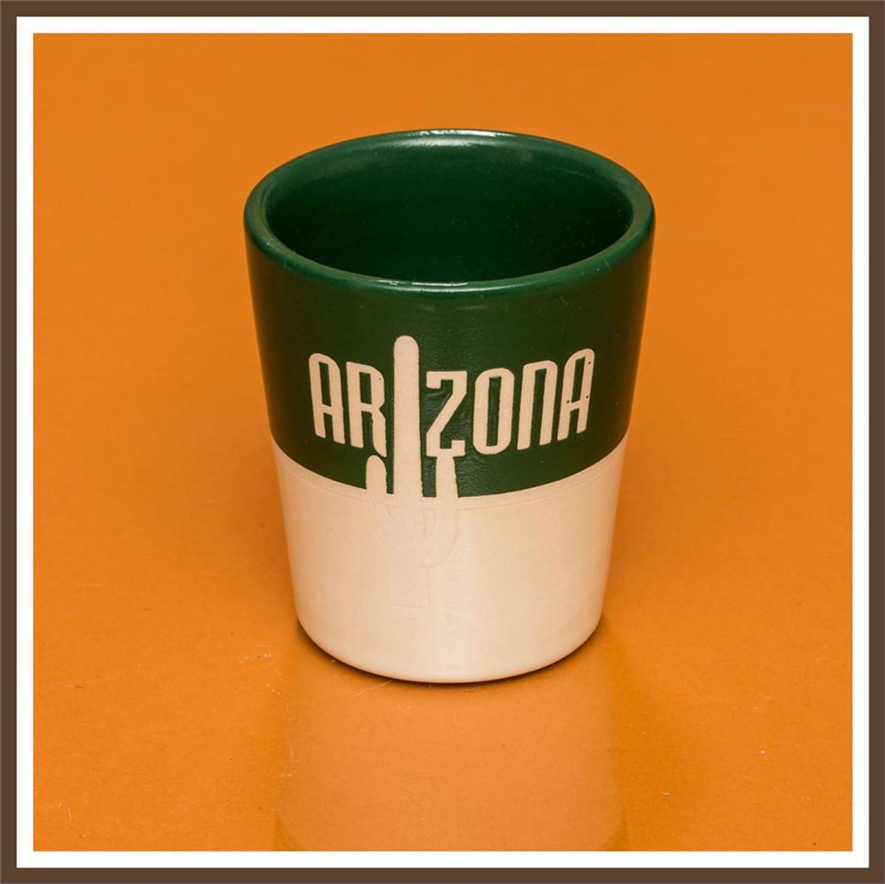 Green White Stoneware Shotglass