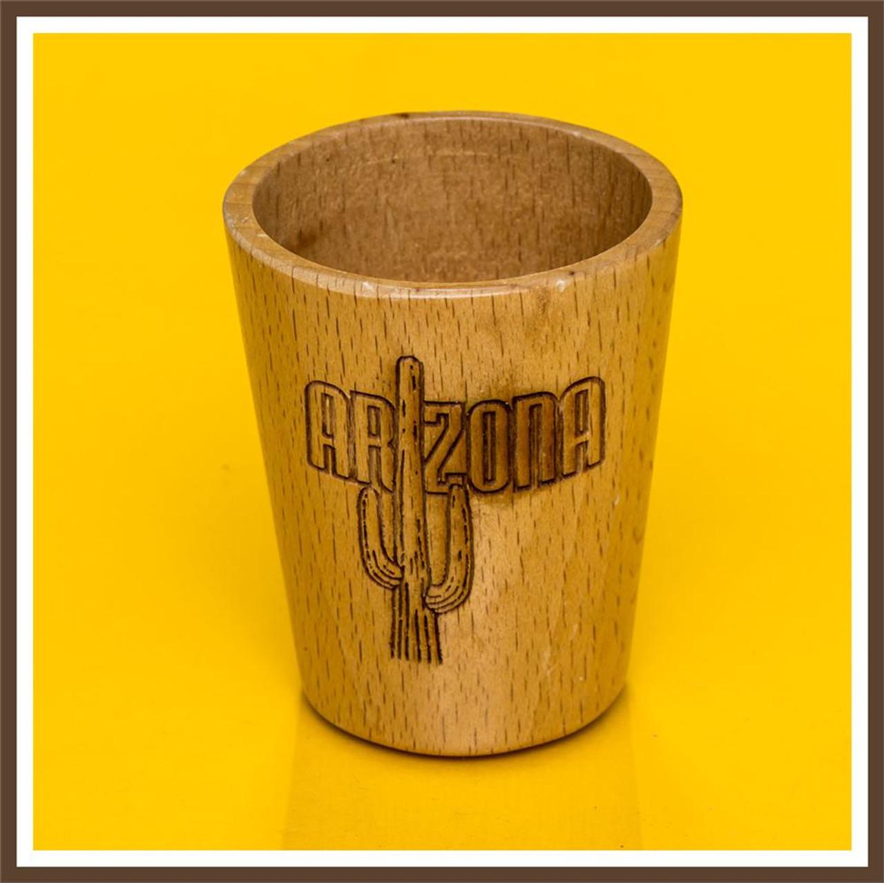 Wood Arizona Cactus Shotglass