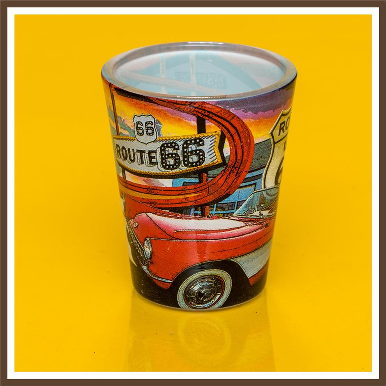 Route 66 Car Collage Shotglass