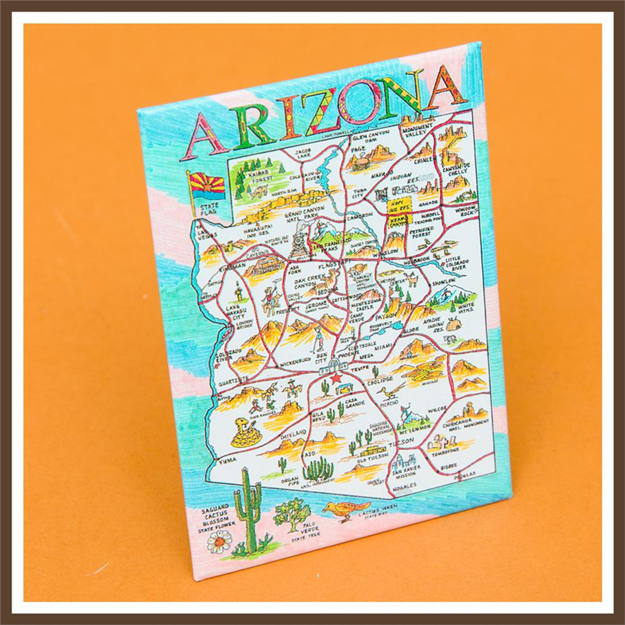 Arizona Map Magnet on map accessories, map books, map pamphlets, map buttons, map pencils, map room decor, map puzzles, map name tags, map furniture, map post cards, map games, map throw blanket, map tools, map dry erase board, map paper, map lettering, map science projects, map invitations, map wall graphic, map watches,