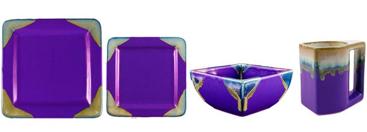 Square Dinner Set-Purple-16 Piece Set
