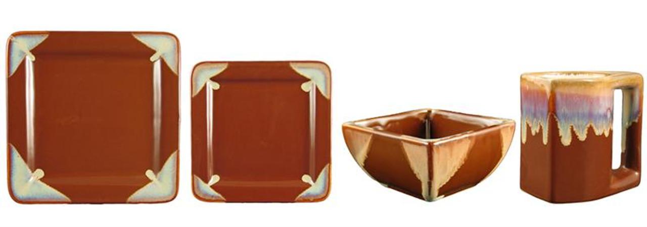 Square Dinner Set-Chocolate-16 Piece Set
