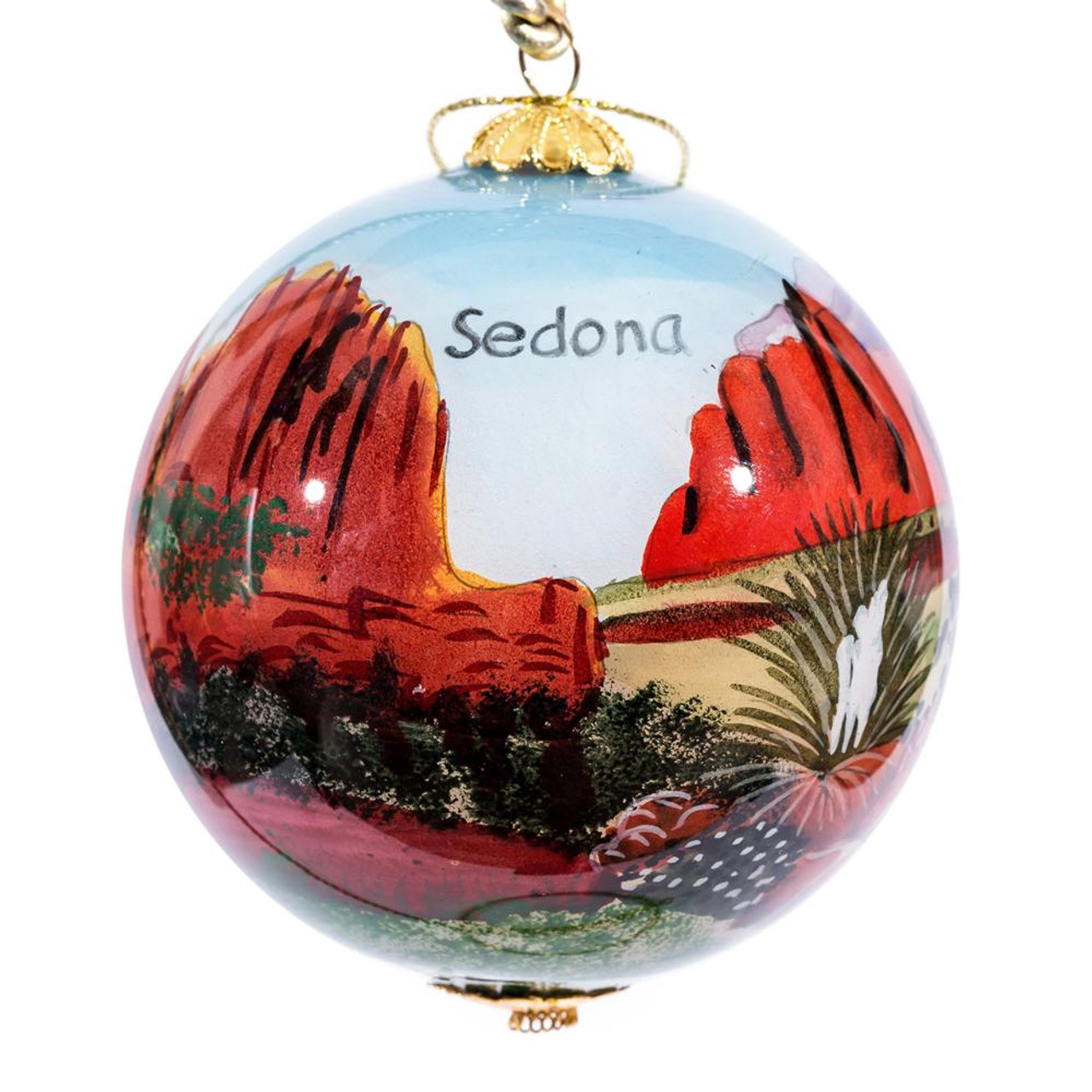 "Sedona Red Rock crossing - 3"" Ornament Set of 2"